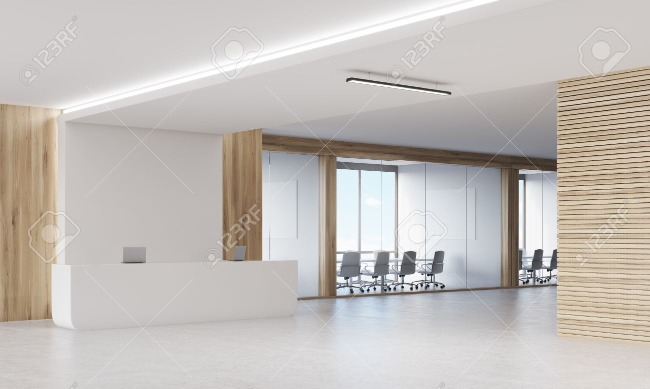 Side View Of Reception Desk And Two Conference Rooms In Company Stock Photo Picture And Royalty Free Image Image 64410366