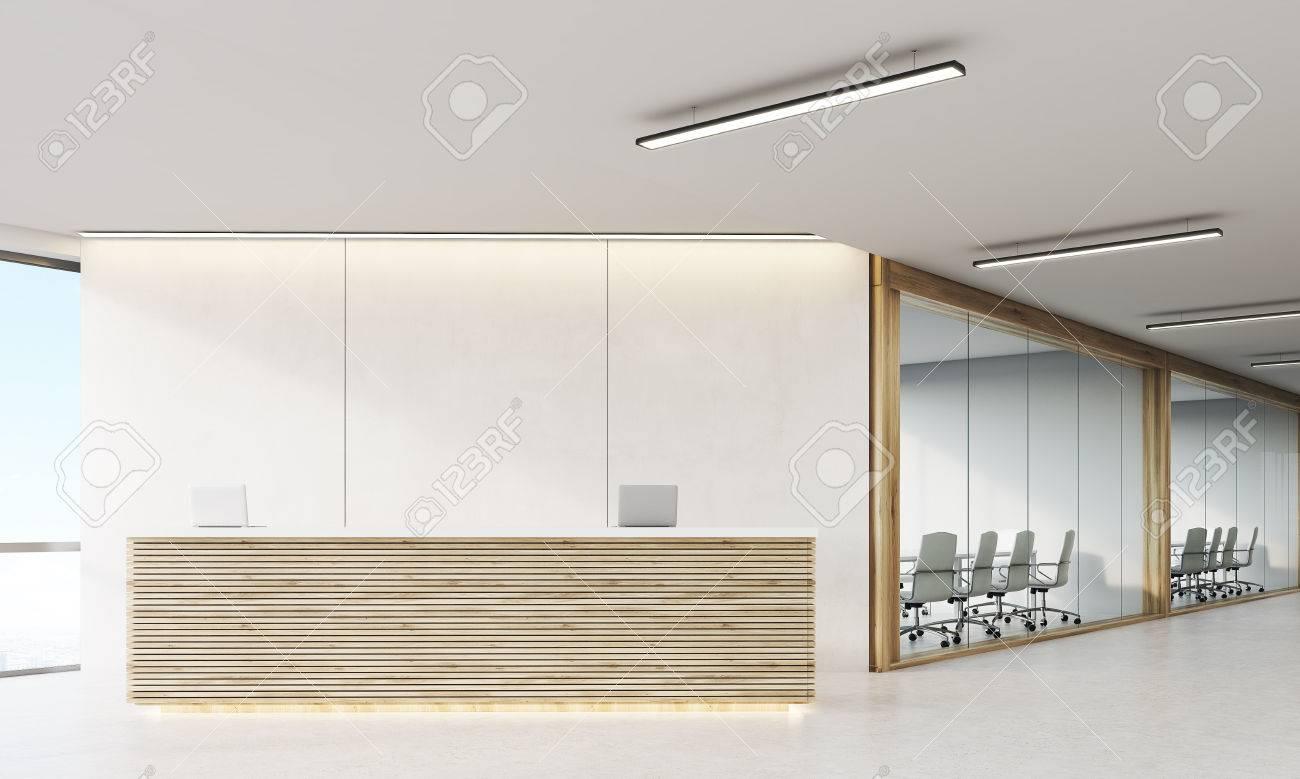 office corridor door glass. Front View Of Long Office Corridor With Doors And Wooden Decorations Wood Reception Counter In Door Glass