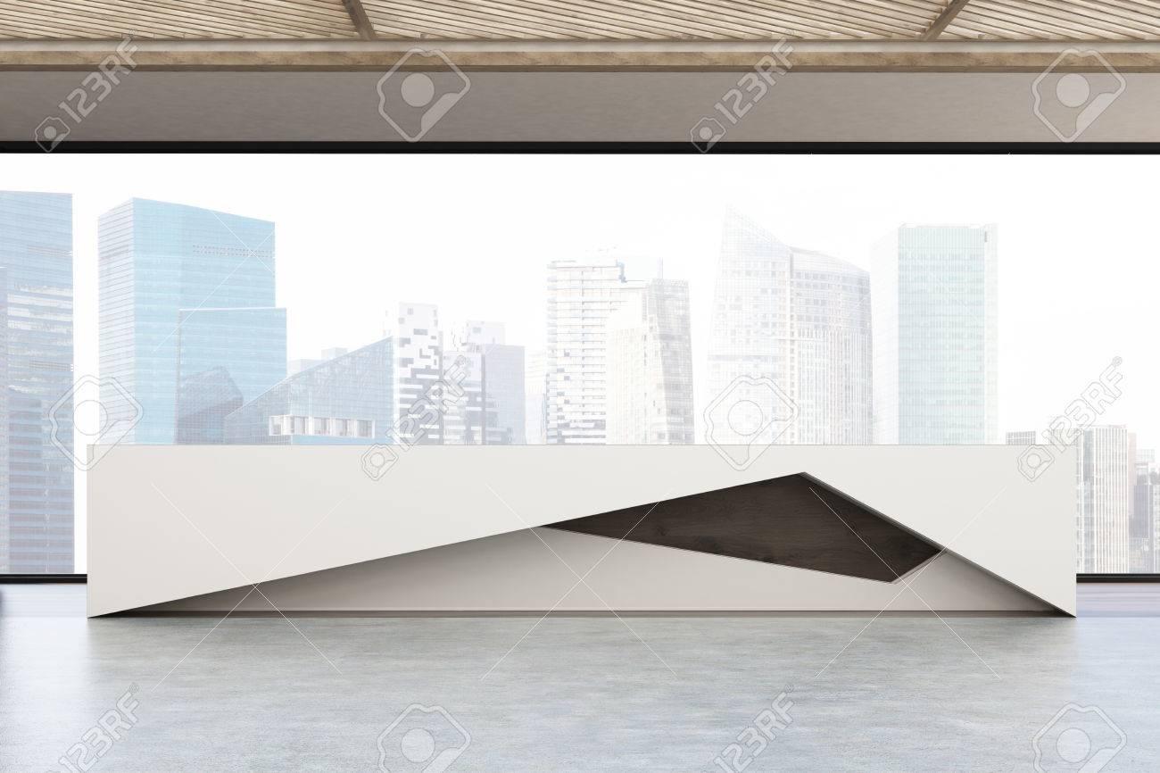 Gros plan d un grand comptoir de réception dans le bureau moderne