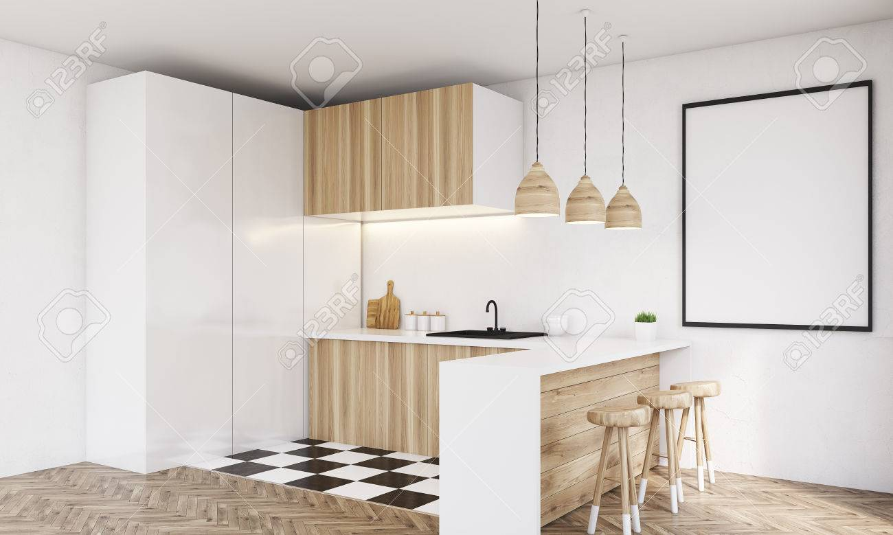 Corner View Of Modern Wooden Kitchen With Sink, Table Top, Square ...