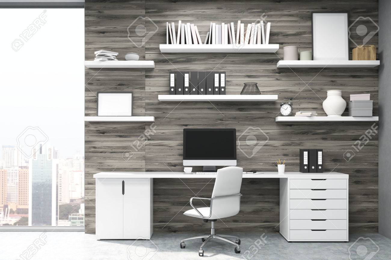 writing desks for home office. Home Office With Dark Wood Panels, Large Writing Table Workstation And Multiple Shelves Desks For