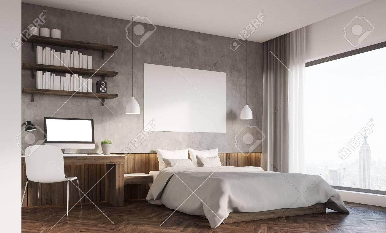 Camera da letto in una grande città. letto matrimoniale con poster  orizzontale, del computer sulla scrivania. Scaffali. rendering 3d. Modello.