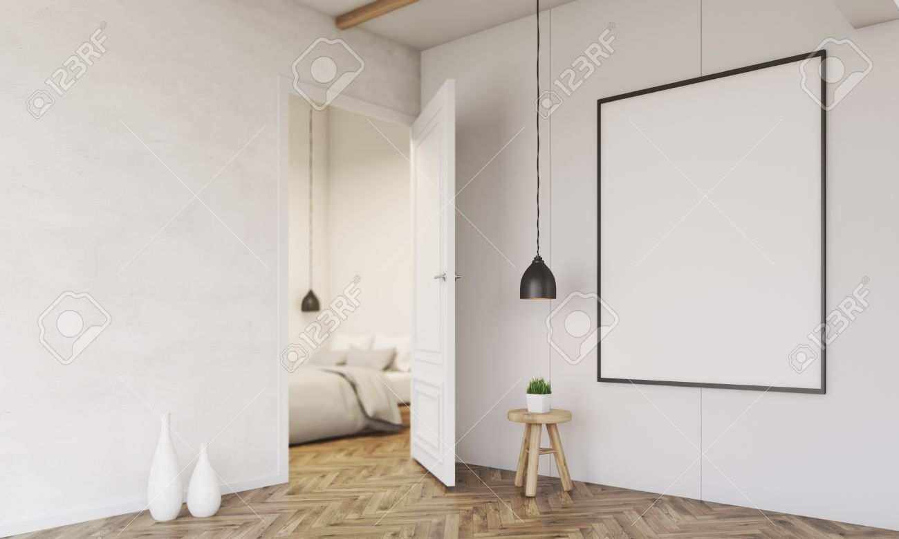 Bedroom With Bed, Framed Poster, Open Door And Low Hanging Ceiling Lamp.  Vases