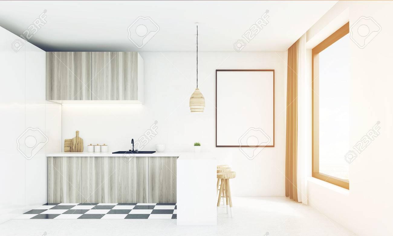 Cocina de madera moderna con fregadero, mesa, ventana cuadrada y un póster  enmarcado vertical en un día brillante. Concepto de comer en casa. Las 3D.  ...