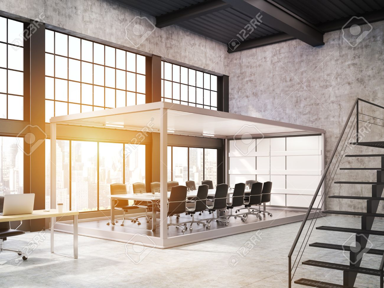 Erstaunlich Aquarium Sitzungsraum Im Offenen Büro Mit Treppe. Konzept Der Modernen  Arbeitsplatz. 3D Rendering