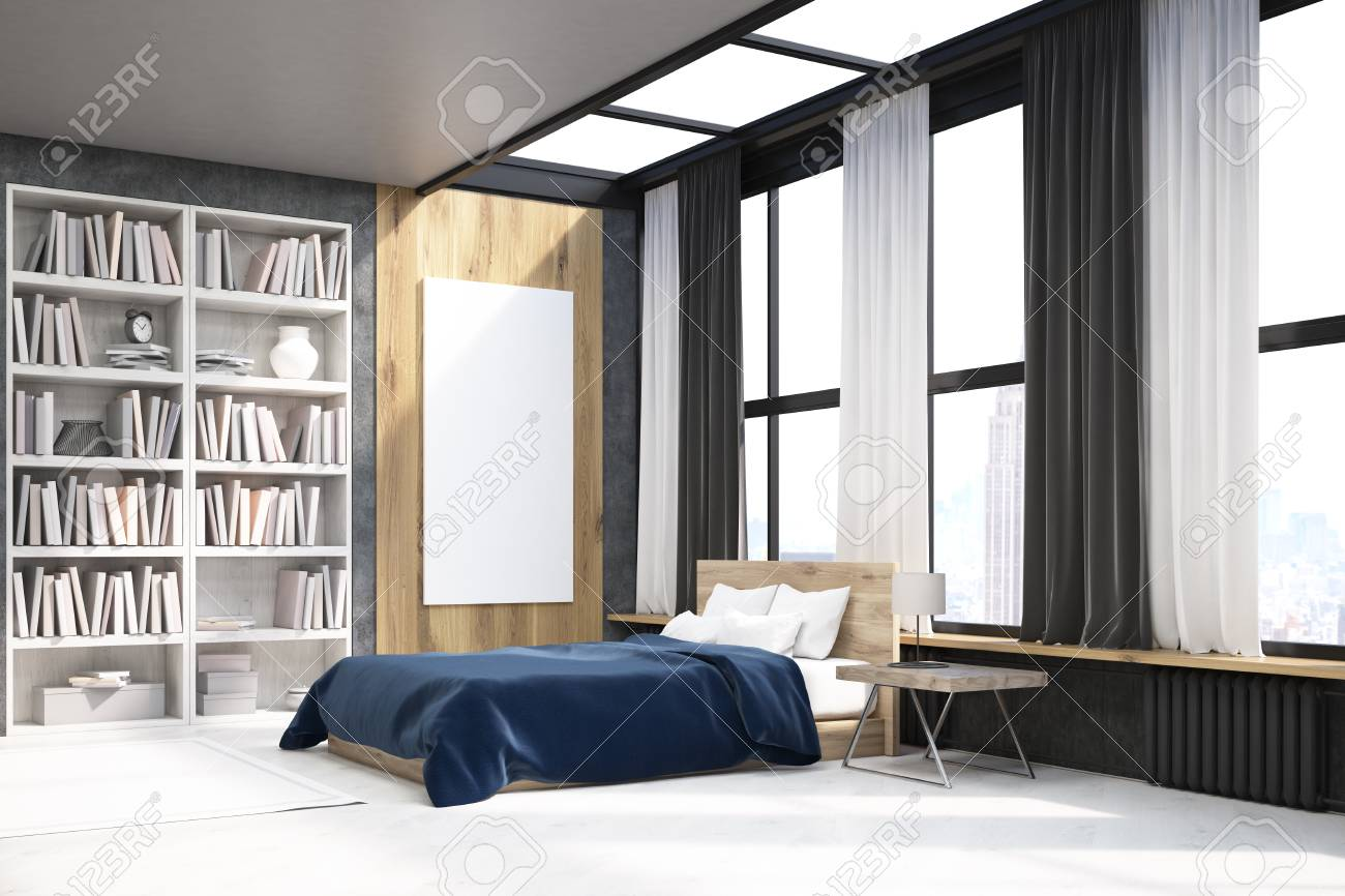 View Of Modern Bedroom With Bookcase Large Vertical Poster And