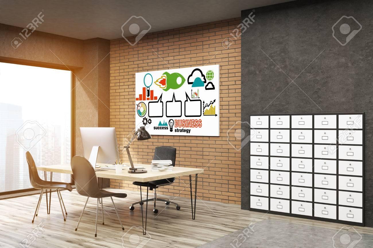Schedario Ufficio Nero : Vista laterale di ufficio con schedario e il poster lancio del