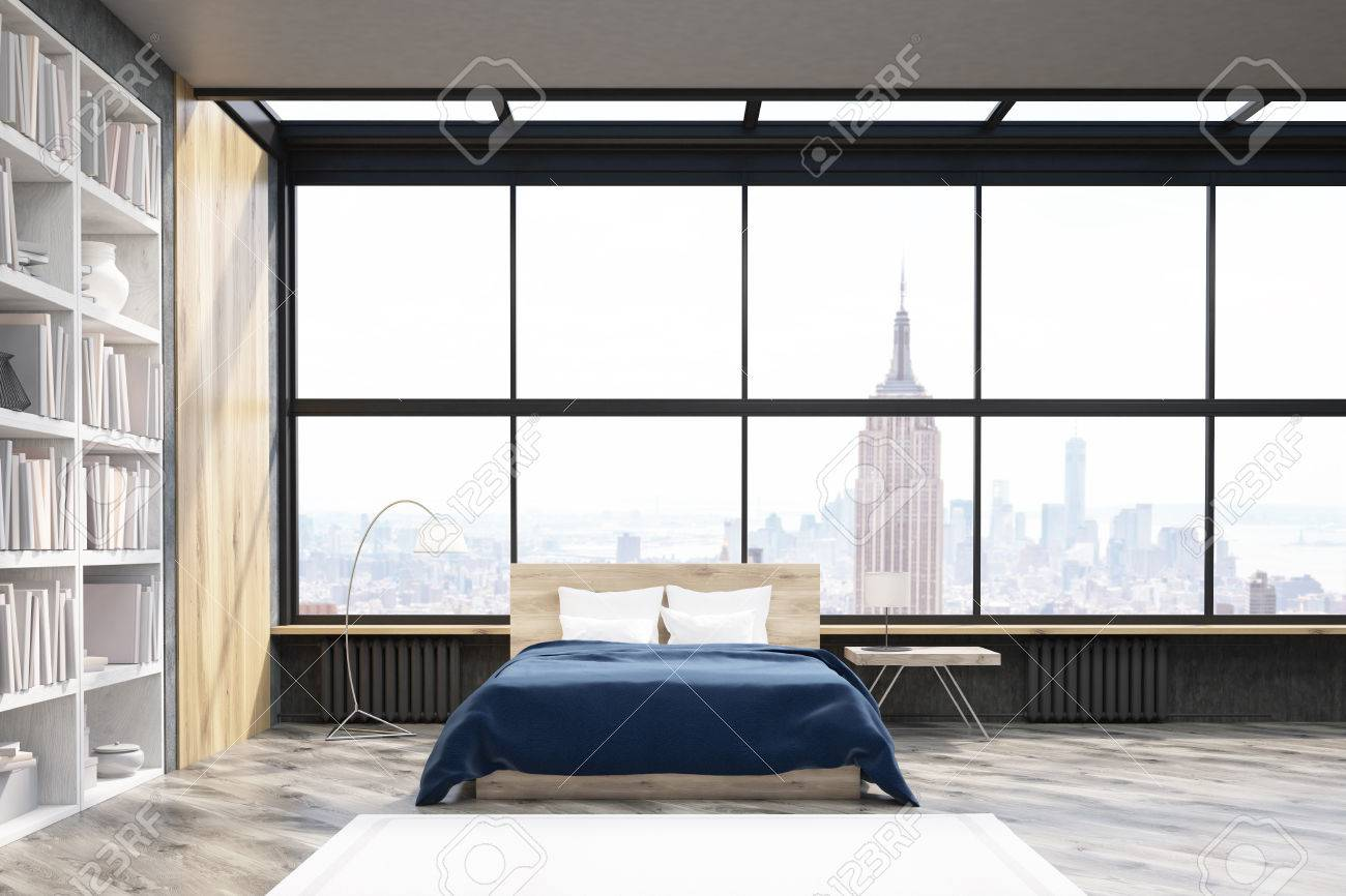 Fine View Of Modern New York Bedroom With Bookcase Large Vertical Download Free Architecture Designs Rallybritishbridgeorg