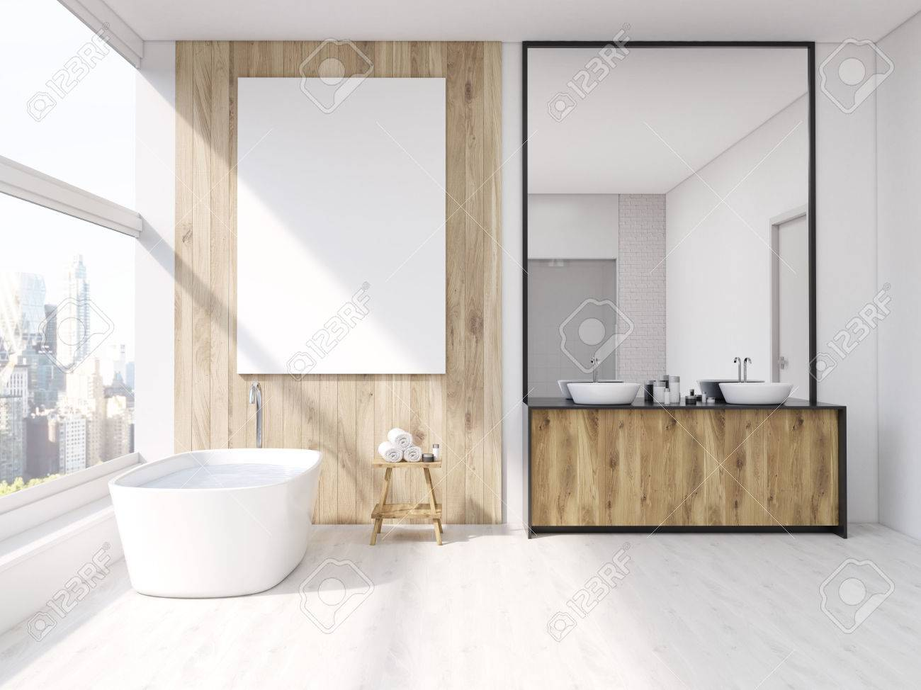 Iterior Of Bathroom With Mirror, Bath Tub, Table With Towels.. Stock ...