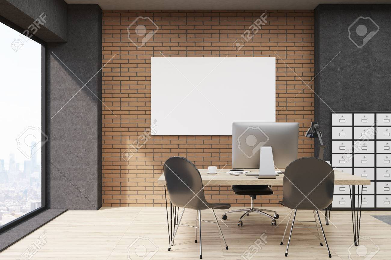 Schedario Ufficio Nero : Vista frontale di ufficio con schedario e poster orizzontale. ceo