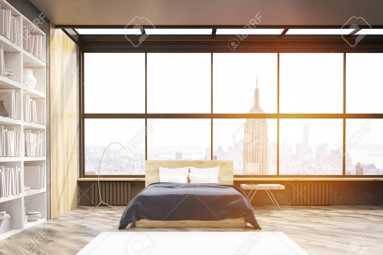 View Of Modern New York Bedroom With Bookcase Large Vertical