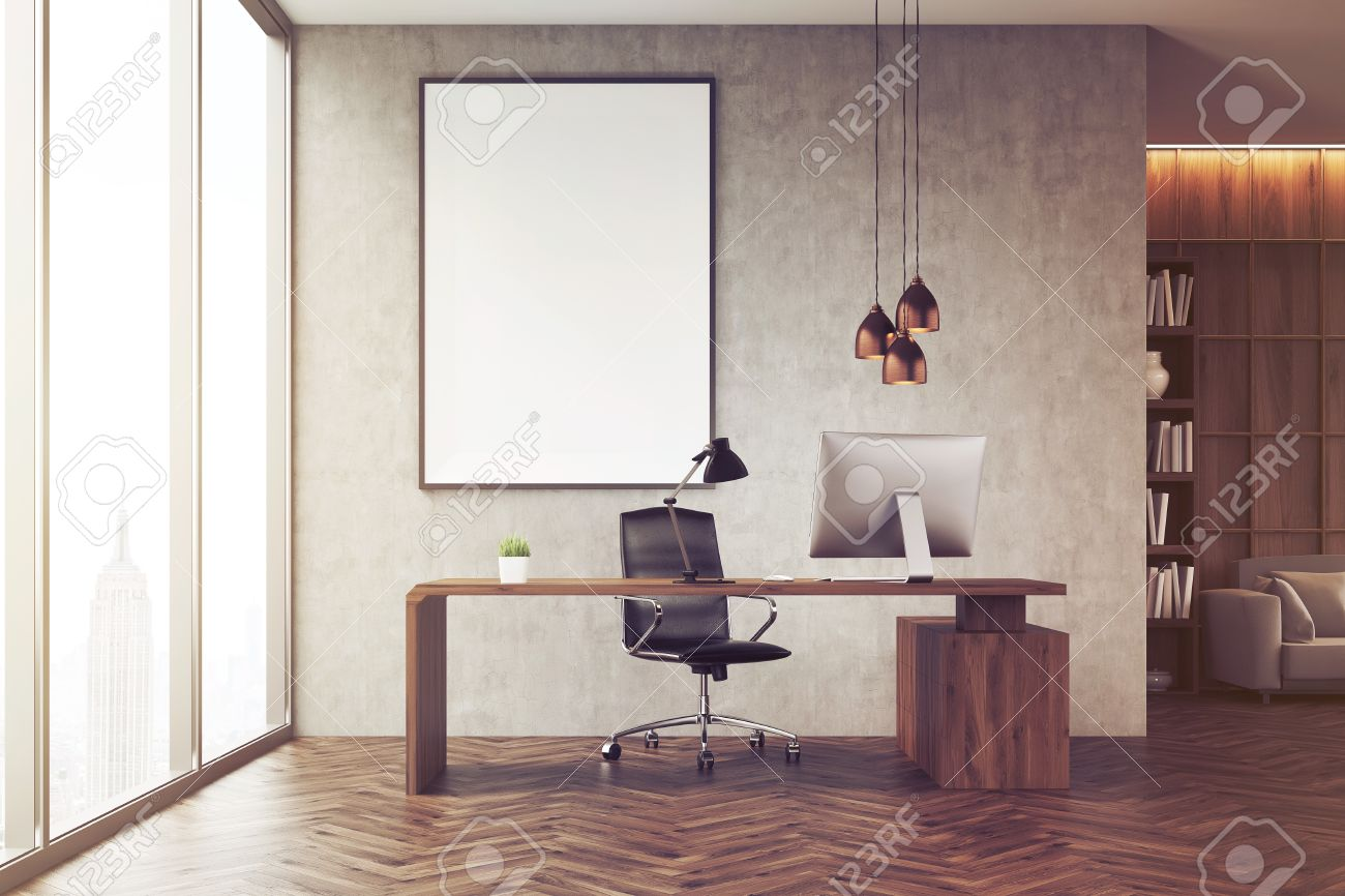 CEO Office With Bookcase, Sofa, Table And Large Vertical Poster ...