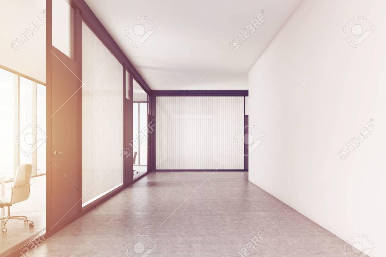 office corridor door glass. Blank And Empty Office Corridor With White Glass Walls. Black Door Is Leading To R