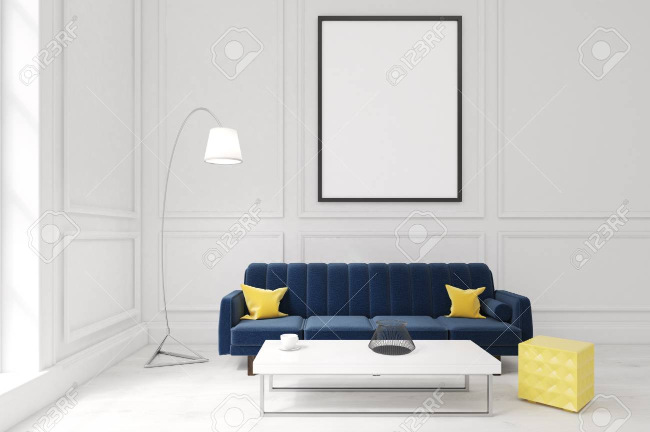 Living room interior with white walls, large blue sofa with cushions,..