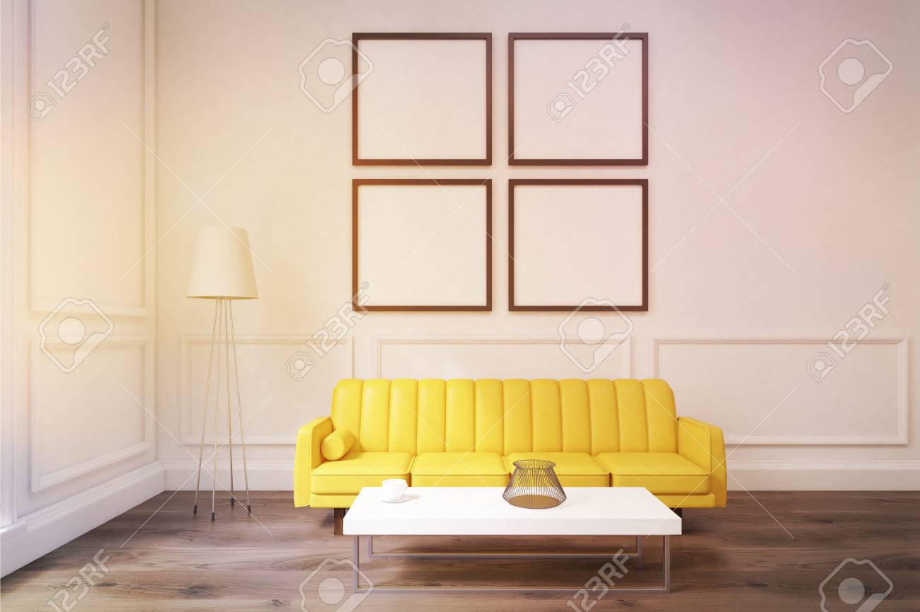 Living Room Interior With White Walls, Large Yellow Sofa, A Coffee ...