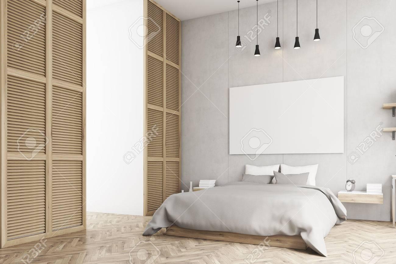 Seitenansicht Eines Schlafzimmer Interieur Mit Kingsize-Bett ...