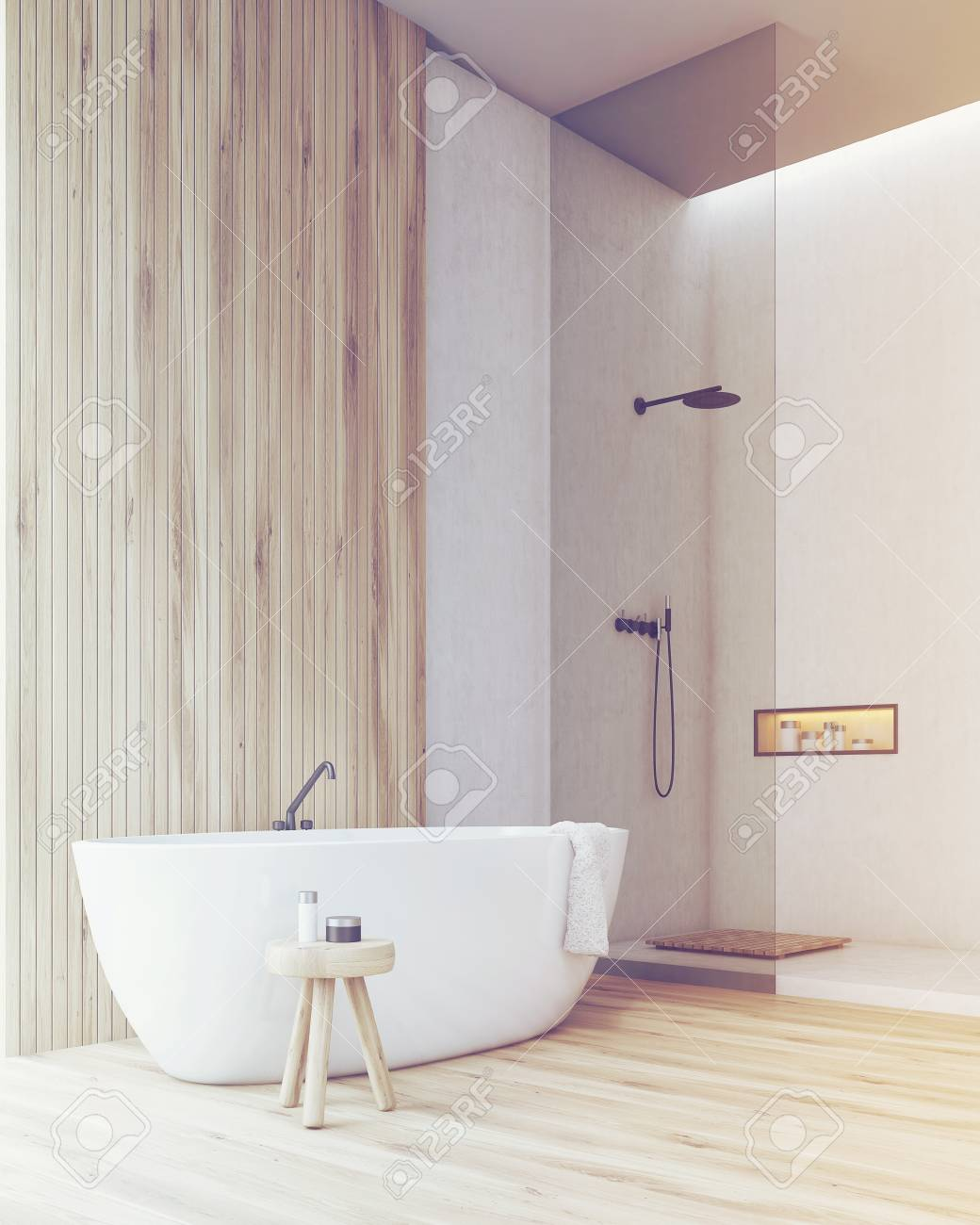 Corner Of A Bathroom With A Wooden Part Of The Wall And Floor ...