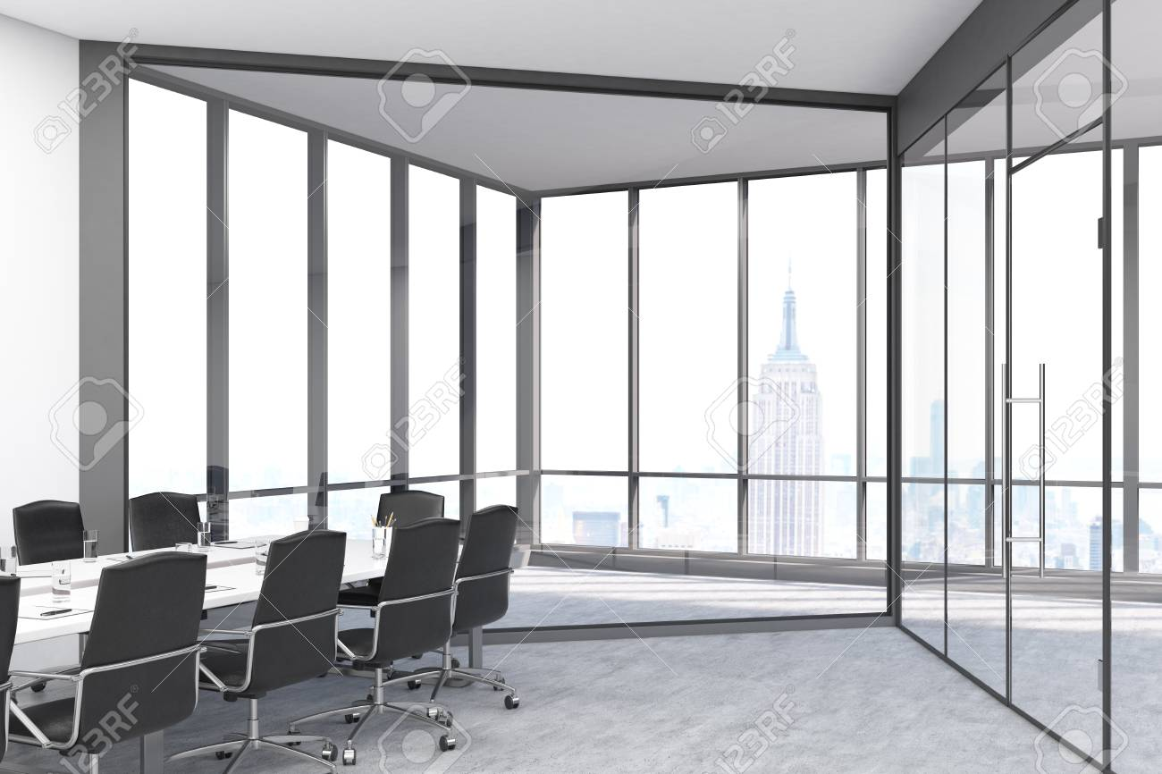 Conference Room With Panoramic Windows And Doors In A Big City.. Stock  Photo, Picture And Royalty Free Image. Image 66092553.