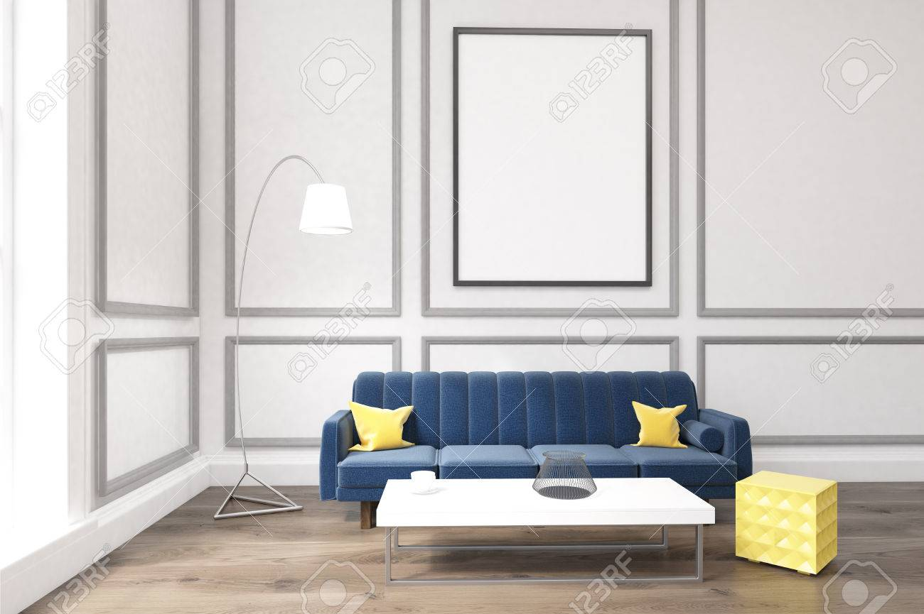Living Room Interior With White Walls, Large Blue Sofa With Cushions ...