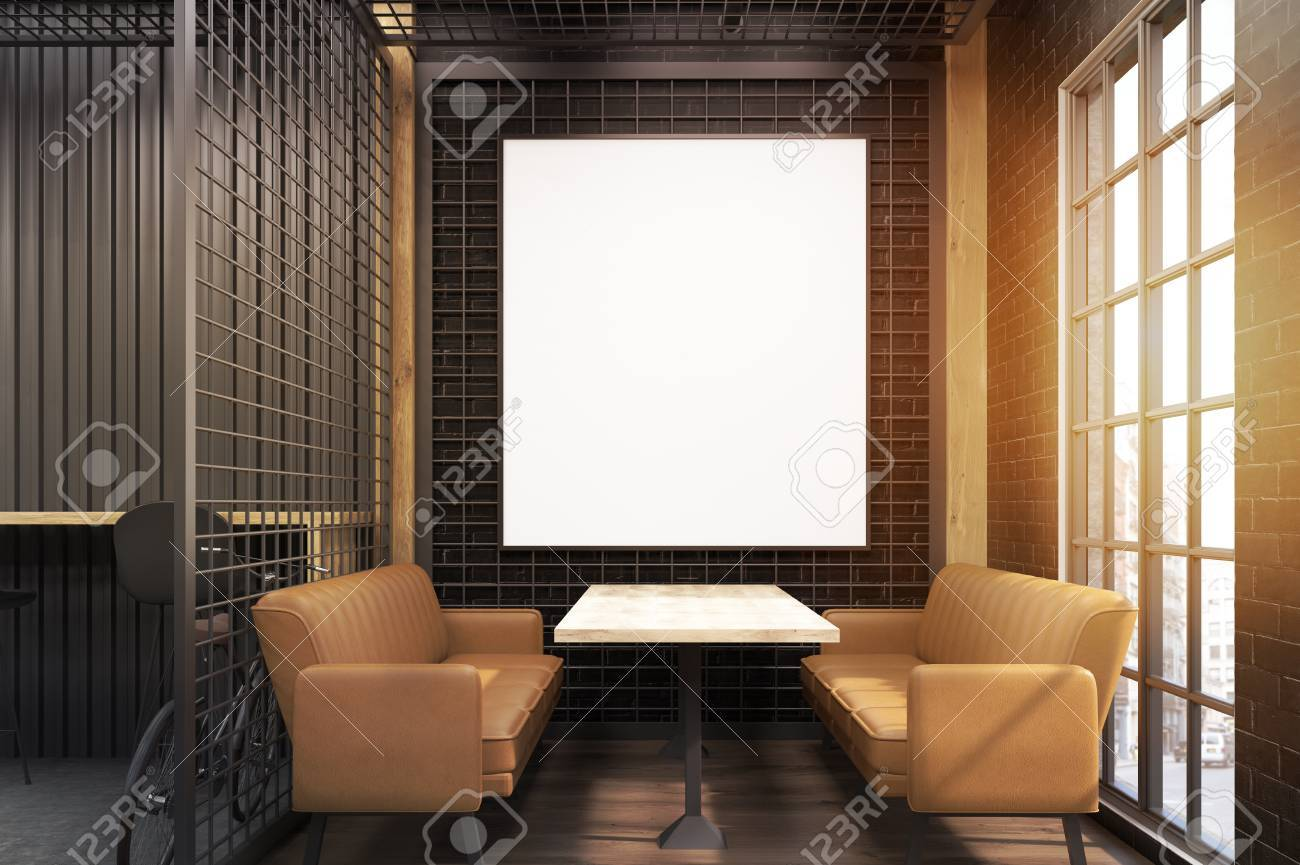 Café-Interieur Mit Zwei Weichen Beige Sofas, Einem Holztisch Und Ein ...