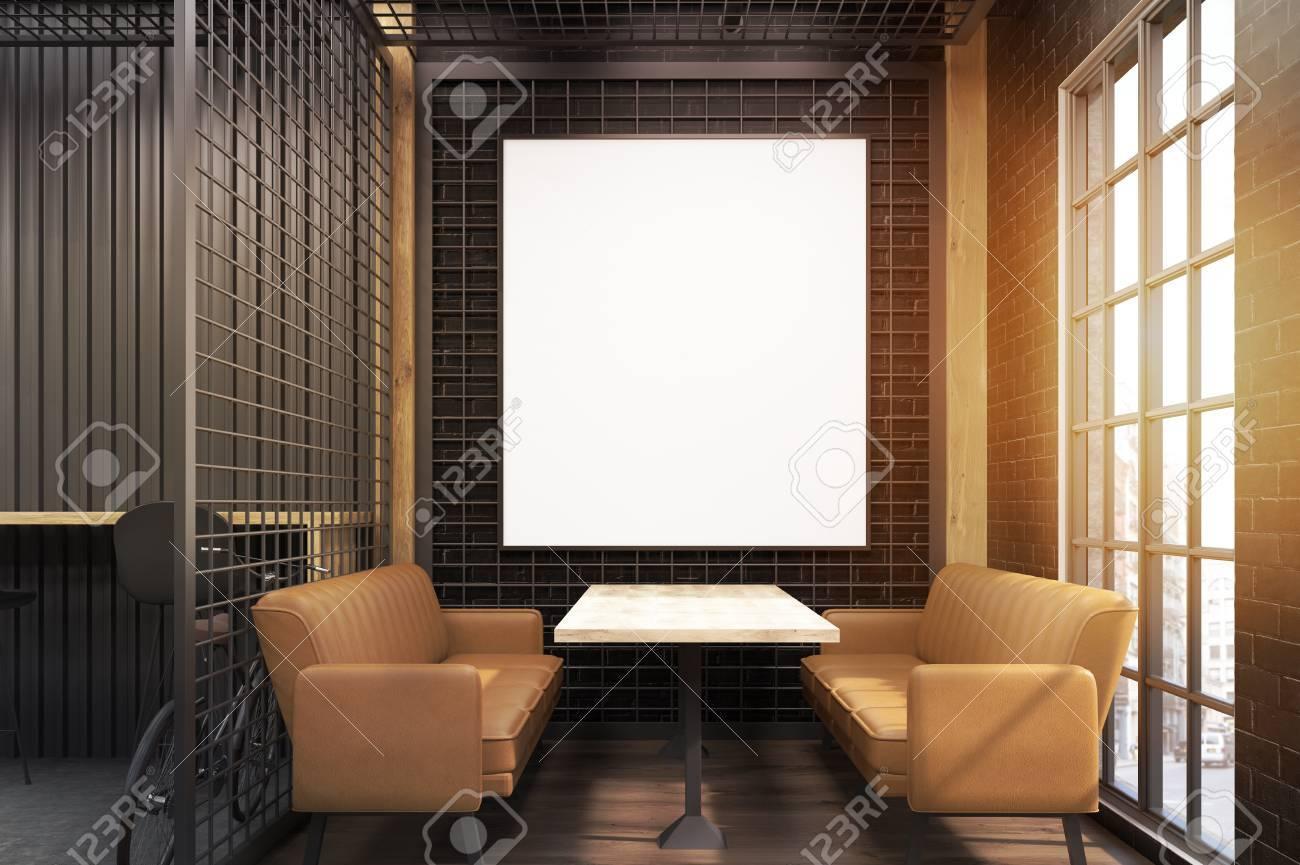 Interior Del Café Con Dos Sofás De Color Beige Suave, Una Mesa De ...