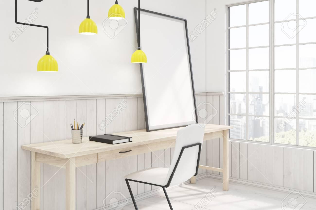 Vue De Ct Dun Bureau Domicile Avec Une Table En Bois Chaise