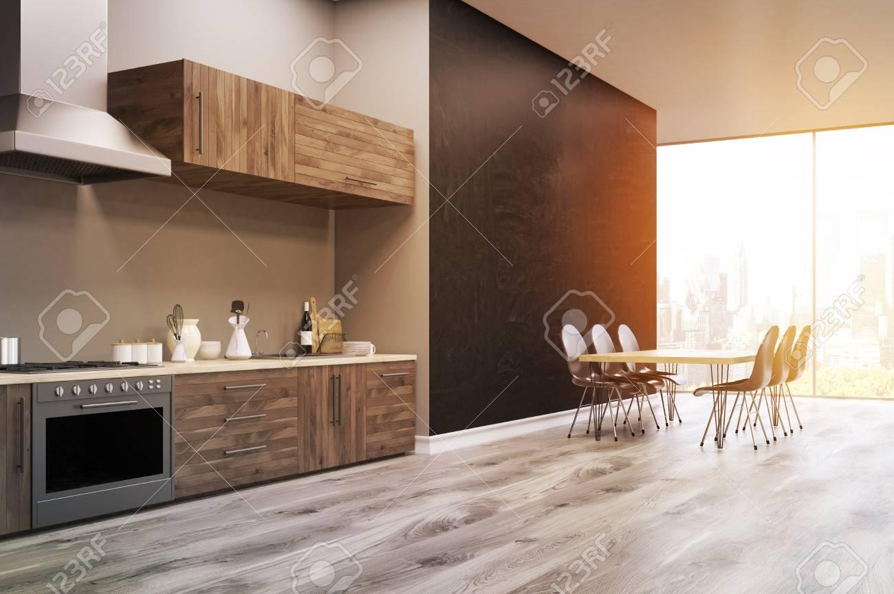 Seitenansicht Einer Kuche Interieur Mit Schwarzen Wand Kuchentheke