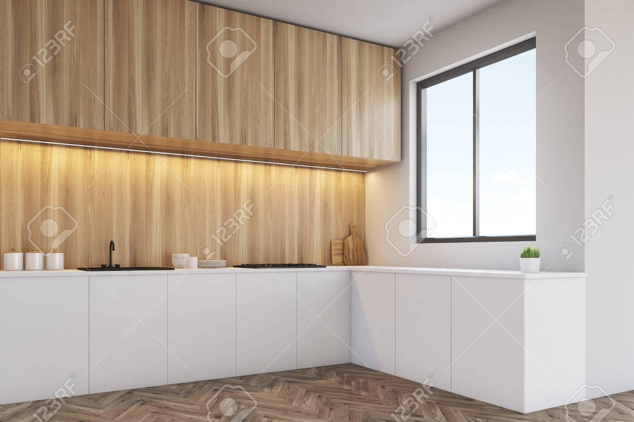 Ecke Einer Küche Interieur Mit Einer Langen Theke, Esstisch Und Ein ...