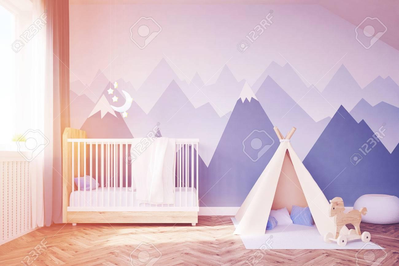 Babyzimmer Bett Zelt 3d Rendering Getontes Bild Lizenzfreie