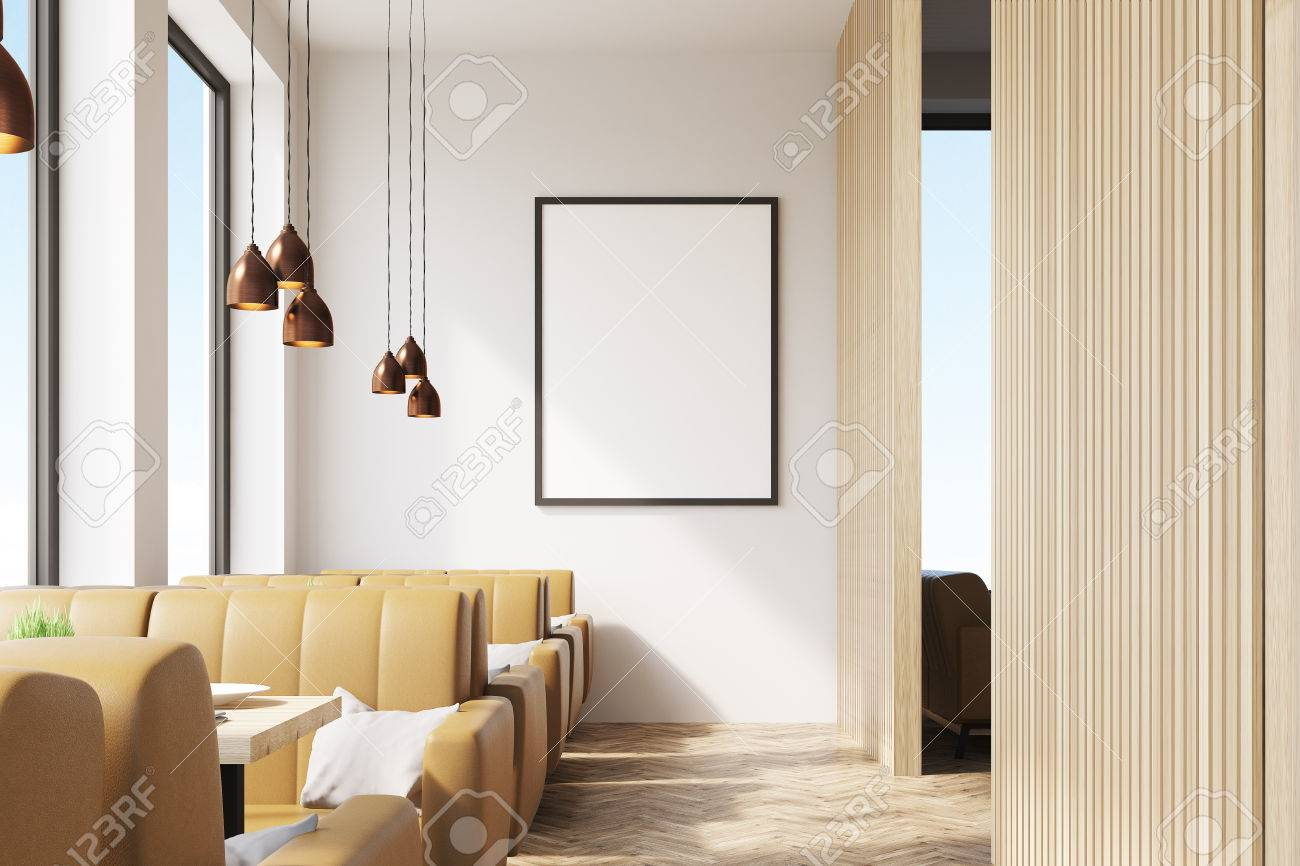 cafe interior with wooden elements of decoration, a framed