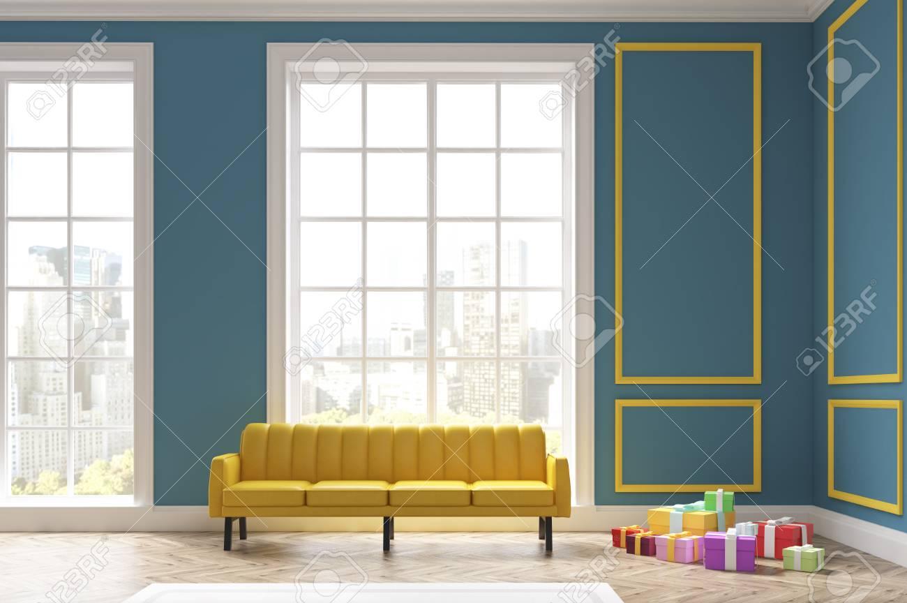 Living Room Interior With A Large Yellow Sofa And A Pile Of Presents ...