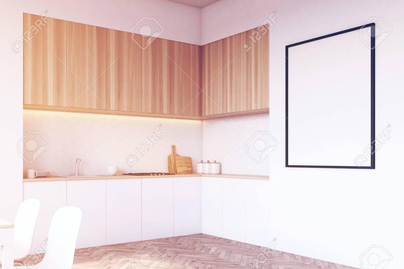 Seitenansicht Einer Tischplatte In Der Küche Es Gibt Schubladen