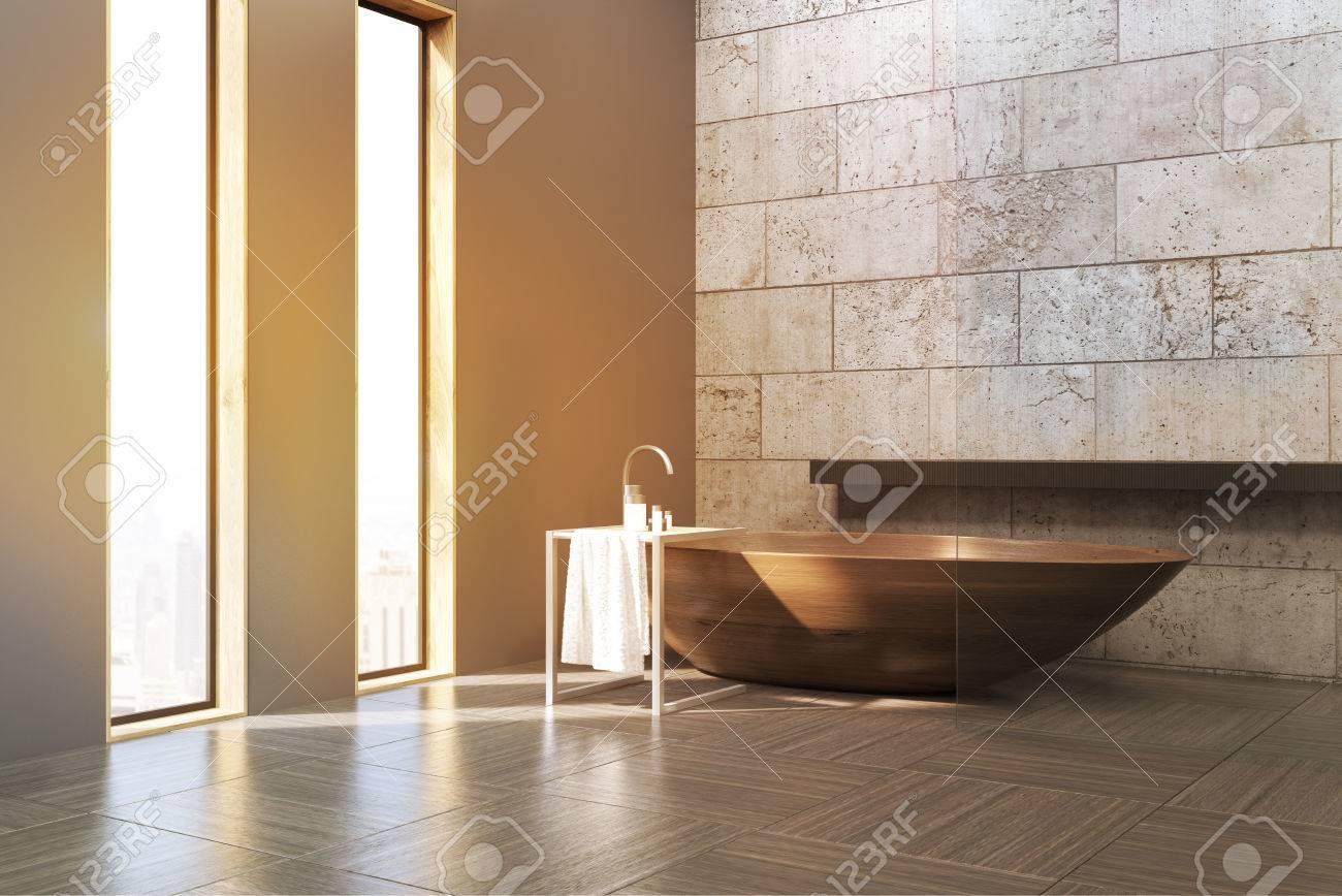 Vasca Da Bagno In Cemento : Vista laterale di un interno bagno con pareti e pavimenti in cemento