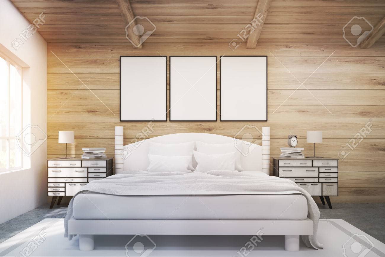 Front View Of A Double Bed In A Room With Wooden Walls And Ceiling Stock Photo Picture And Royalty Free Image Image 68278933