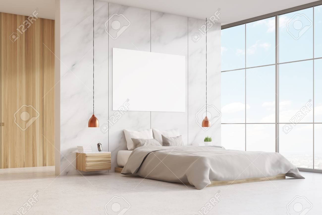 bedroom interior with a king size bed wooden and marble walls panoramic window and