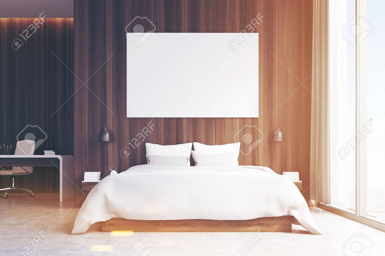 Vista Frontale Di Un Interiore Camera Da Letto Con Un Angolo Di ...
