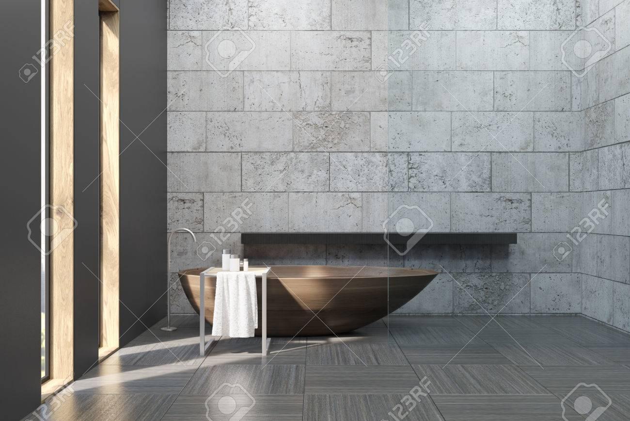 Badezimmerinnenraum Mit Betonwanden Und Boden Es Gibt Eine Grosse