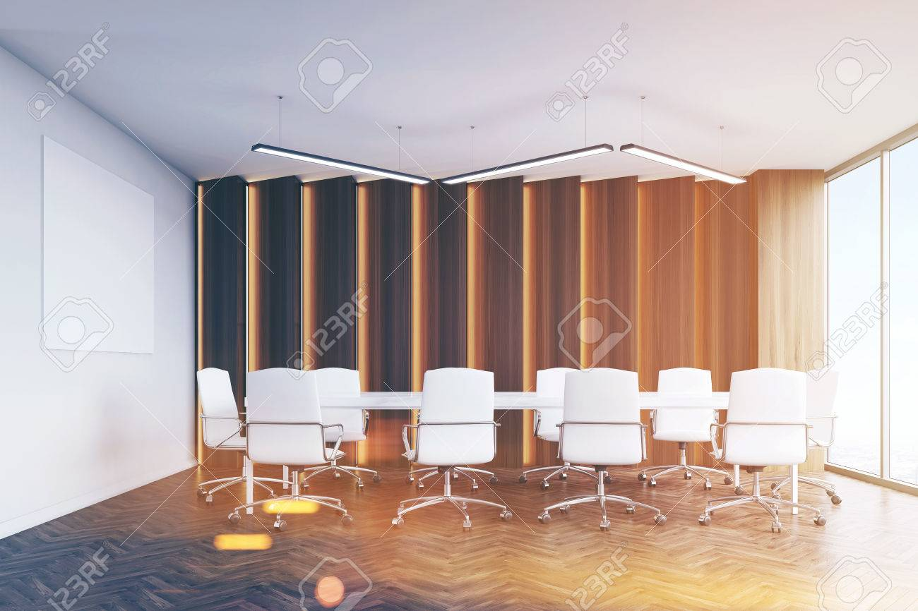 meeting room interior with a huge table and white chairs surrounding rh 123rf com