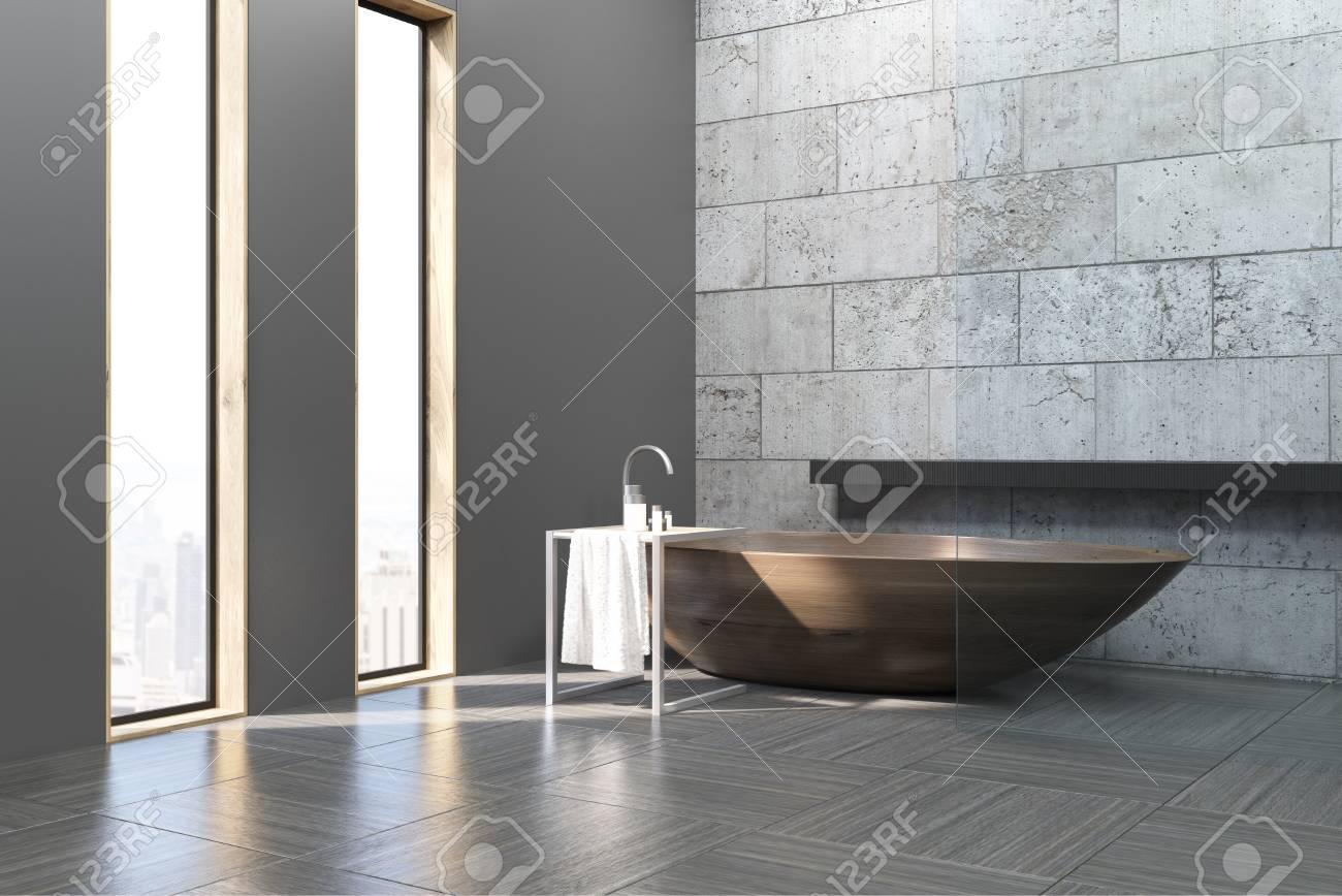 Vasca Da Bagno In Cemento : Immagini stock vista laterale di un interno bagno con pareti e