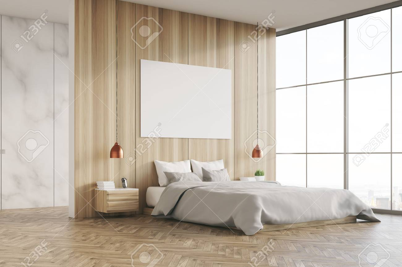 Side View Of A Bedroom Interior With A King Size Bed, Light Wooden ...