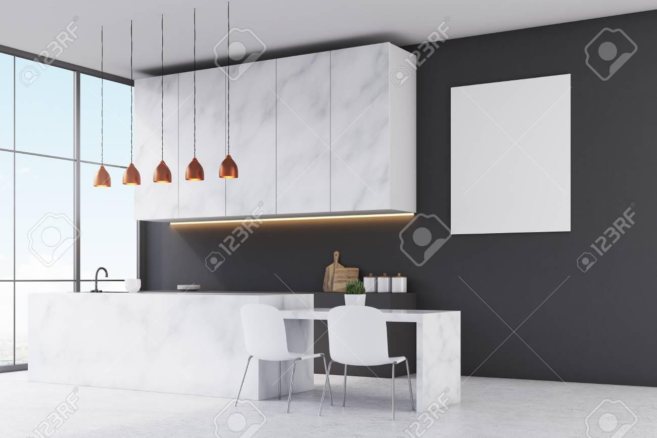 Seitenansicht Einer Kuche Mit Marmor Mobel Schwarzen Wanden