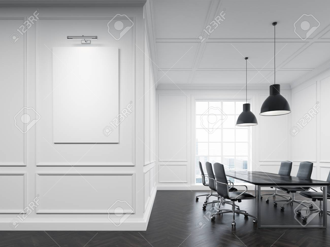 Meeting Room Interior With White Walls Long Conference Table - Large white conference table