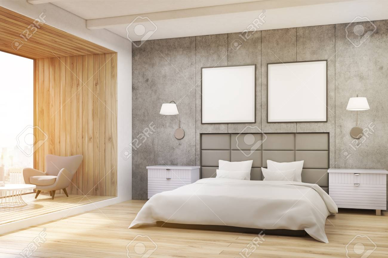 Bedroom Interior With Concrete Walls A Large Bed With Two Square