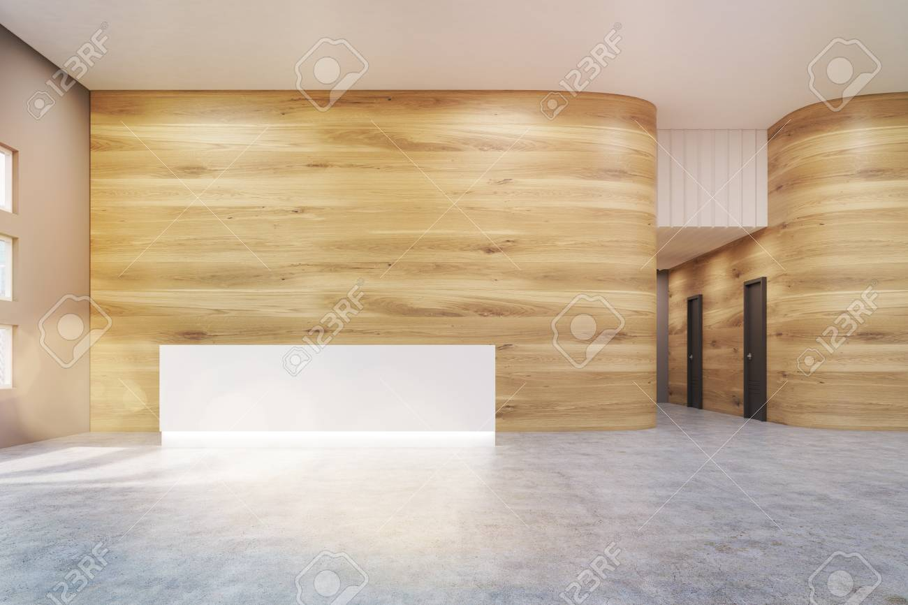Empty Office Hall With Wooden And Gray Walls And Concrete Floor ...