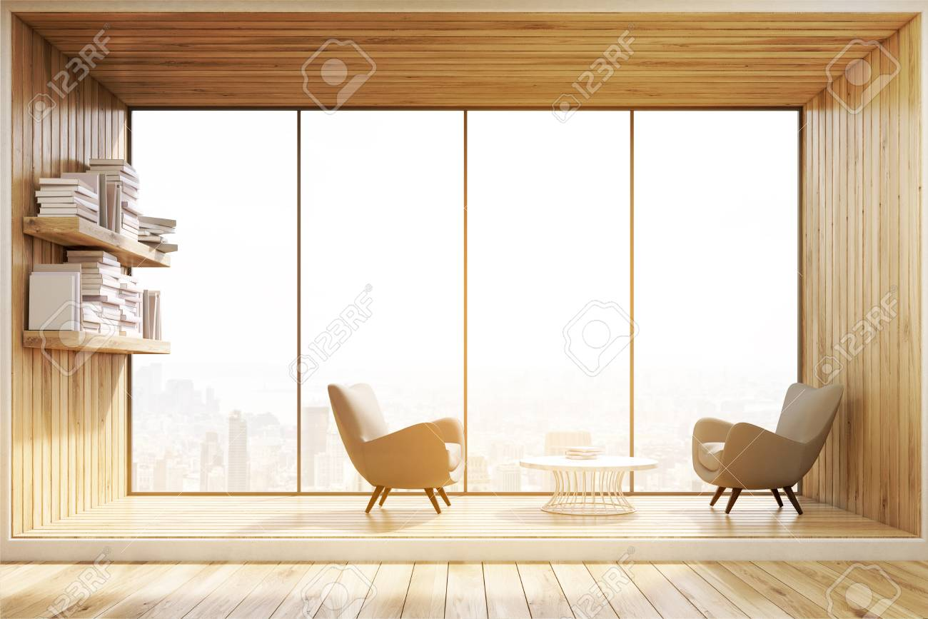 Living Room Interior With Wooden Walls, A Panoramic Window And ...