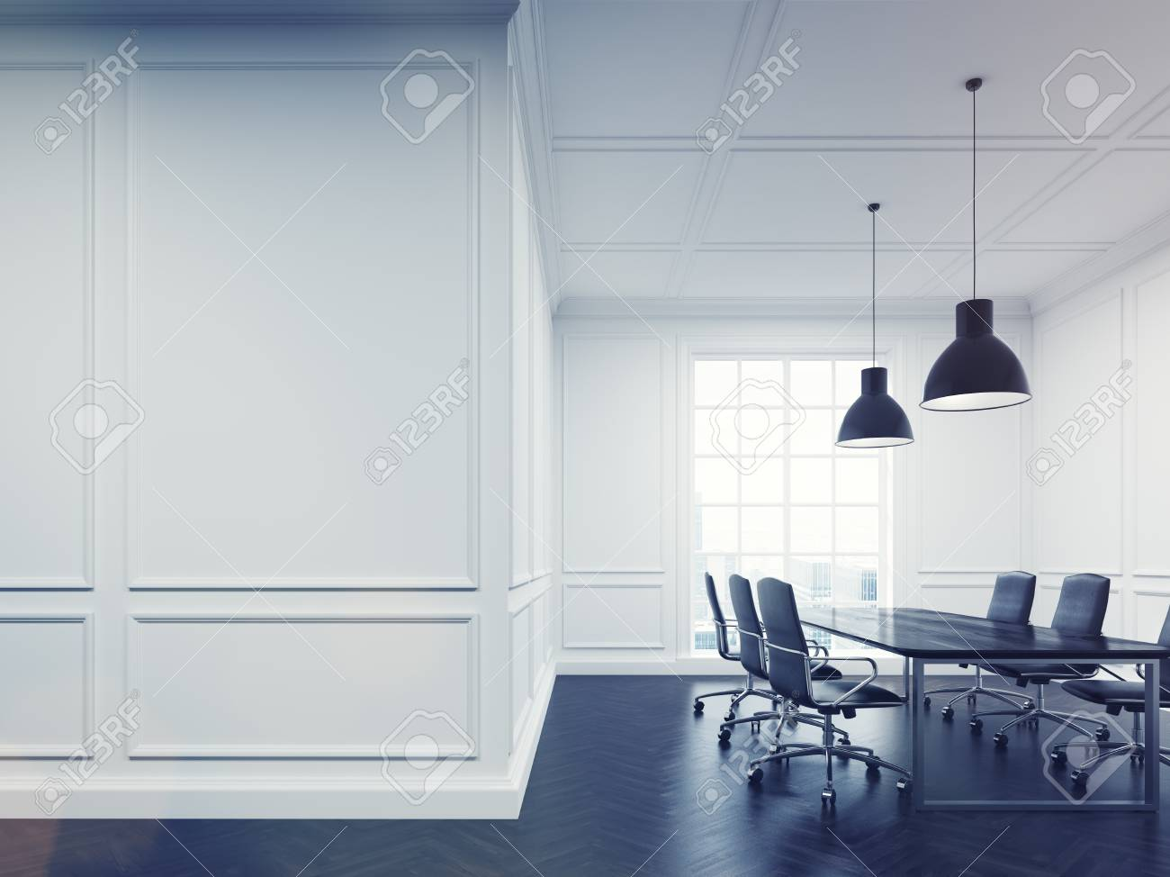 Meeting Room Interior With White Walls Long Conference Table - Long meeting table