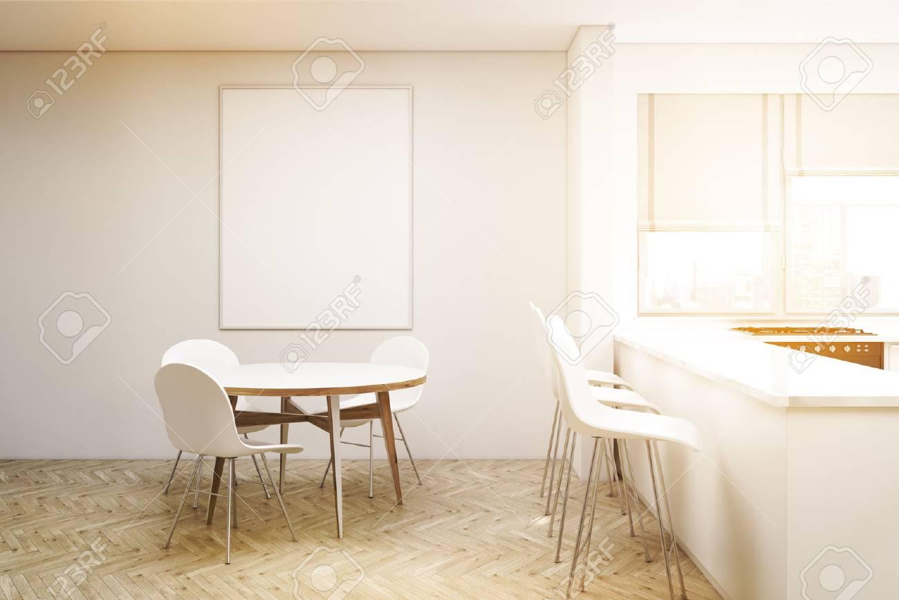 LiantsAffiche Des 3d Une VerticaleRendu Allée Compacte Tabourets Ronde Avec Table Et Trois Chaises; Cuisine Fenêtres hQrdCstx