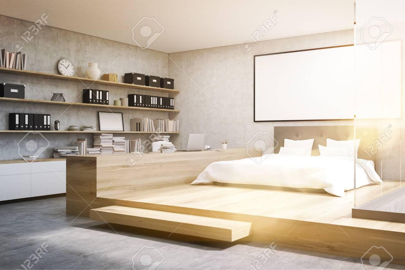 Ecke Des Zuhauseburos In Einem Schlafzimmer Es Gibt Ein Bett Mit