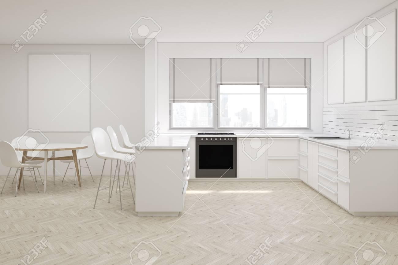 Cucina Con Finestra Orizzontale interno cucina con mobili bianchi, poster verticale, controsoffitti, forno  e finestre con tonalità. rendering 3d. modello