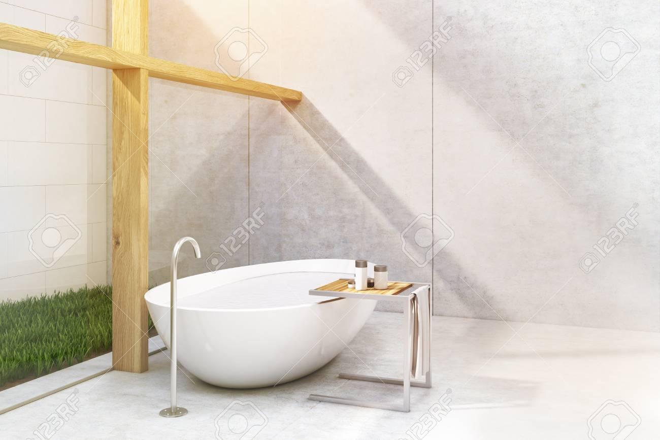 Ecke Eines Badezimmers Mit Einem Darlehen Es Gibt Holzsaulen Eine